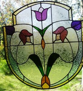 Stained Glass Panel With Victorian Design 19x18