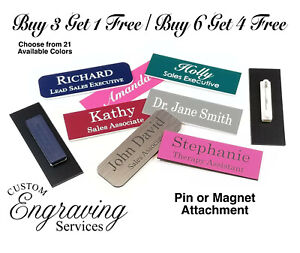 1x3 Employee Personalized Name Tag Badge Magnet Or Pin Identification Engraved