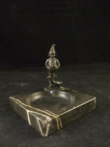 Antique Dutch Farm Boy And Goose Bronze On Marble Dish Or Ashtray Signed