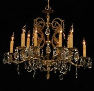 Vintage Restored European Heavy Cast Brass Crystal 12 Light Chandelier