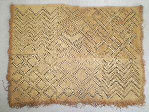 Antique African Congo Handwoven Tribal Raffia Kuba Cloth Textile Ethnic 18 X 14
