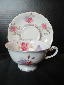 Royal York Poppy Footed Cup Saucer Germany