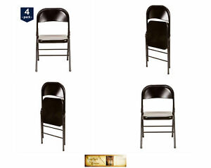 Party Event Chairs 4 Pc Steel Metal Folding Black Wedding Portable Seating