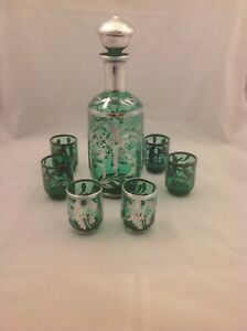 Antique Vintage Silver Overlay Emerald Green Petite Decanter 6 Glass Set