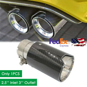 Car Universal Stainless Steel Exhaust Pipe Tail Muffler Tip Carbon Fiber 2 5