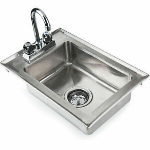 Stainless Steel Drop In Sink Commercial Hand Wash Bar W Faucet 10 X 14 X 5