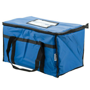 Two Insulated Catering Delivery Food Full Pan Carrier Hot Cold Cooler Bags Blue