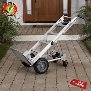 Aluminum Hand Truck Assisted Wheels Dolly Appliance Mover Cart Convertible Fold
