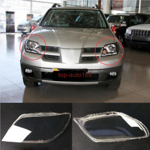 Left Front Right Front Headlight Lens Cover For Mitsubishi Outlander 2003 2005