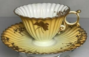 Antique Japanese Kutani Hand Painted Eggshell China Tea Cup And Saucer Signed