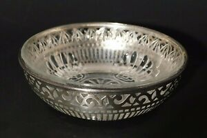 Vtg Webster Pierced Sterling Silver W Eapg Insert Candy Dish Nut Bowl