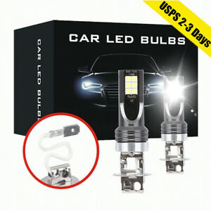 2x H3 50w 14000lm Cob Led Headlight Conversion Kit Bulbs 6000k Driving Drl Lamp