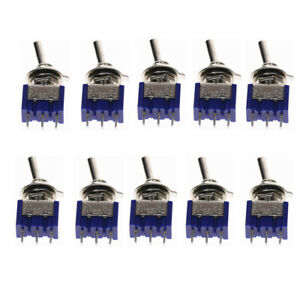10pcs Mts 102 3 Pin Spdt Toggle Switch On on 2 Position 1 4 Mounting Hole
