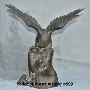 15 Collect Ancient Japanese Bronze Hawk Eagle Open Out The Wings Bird Sculpture