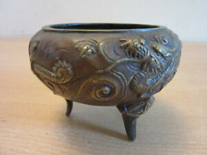 Antique Footed Bronze Chinese Japanese Incense Bowl With Dragon Relief Design