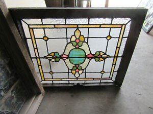 Antique Stained Glass Window 1 Of 2 30 X 25 Architectural Salvage