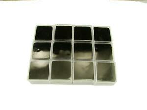 Lot Of 12 Square Gold Nugget Display Cases W Black Foam gems Minerals Coin
