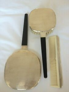 1930s Art Deco Solid Silver Dressing Table Vanity Set Hairbrush Mirror Comb