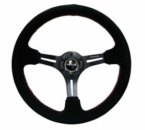 Nrg 35mm Black Suede W Red Stitching Reinforced Steering Wheel Rst 018s rs