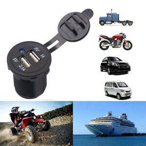 Waterproof Dual Usb Port Car Cigarette Lighter Socket Plug Led Voltmeter Parts