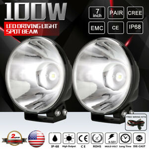 Cree 7 Inch 100w Led Driving Lights Spotlights Slimline Black Round Replace Hid