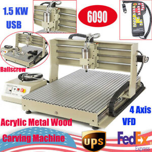 Usb 4 Axis 1500w Cnc 6090t Router Engraver Engraving Mill drilling Machine Rc