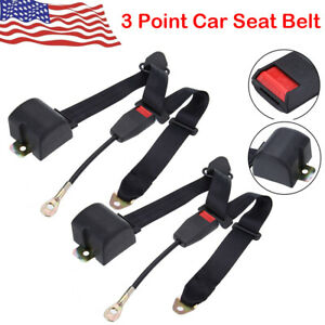 2pack Black Universal 3 Point Retractable Adjustable Car Seat Belt Us 2019