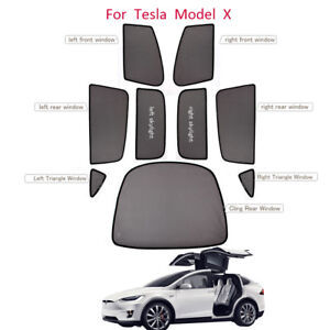 For Tesla Model X Car Window Roof Sun Shades Side Full Set Uv Protector 9pcs