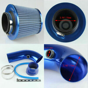 3 Universal Aluminum Cold Air Intake Kit Hose Pipe System Cone Air Filter Blue