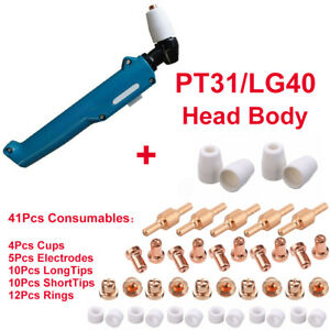 Plasma Cutter Pt31 lg40 Torch Head 41pcs Consumables Electrode Tip Accessories