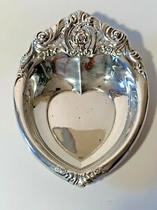 Wallace Sterling Rose Point Heart Shaped Bon Bon Candy Dish 4630