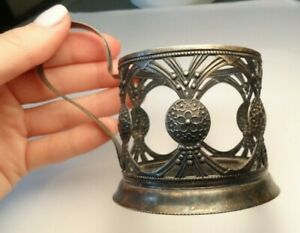 Antique Filigree Glass Cup Holder Sterling Silver 935