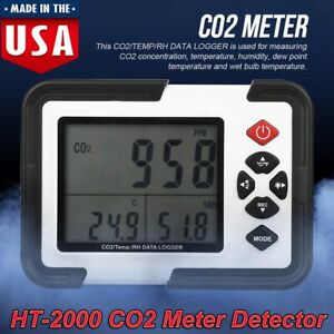 Indoor outdoor Co2 Detector Air Quality Monitor Temp Humidity Meter Ht 2000