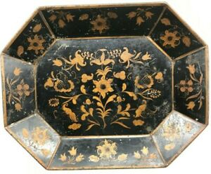 Vintage Toleware Tray 14 7 8 X 11 5 8 Octo 8 Sided Gold Stenciled On Black