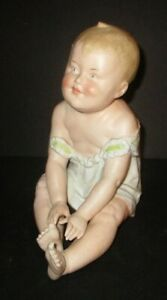 Antique Gebruder Heubach Piano Baby Medium Touching Toes German Bisque Porcelain