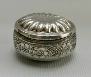 Vtg Sterling Solid Silver Oval Foliate Pill Snuff Trinket Box Chinese Eastern