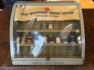 1940 S Antique Star Mercerized Sewing Cotton Display Case American Thread Co
