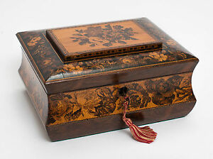 Antique Tunbridge Ware Wooden Sewing Work Box Inlaid With Roses Victorian C1870