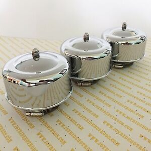Hot Rod 3 X 2brl Domed Chrome Air Cleaners 2 5 8 Or 2 5 16 Neck Tri Carb