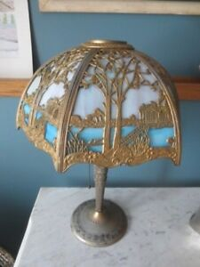 Antique 1920 S Miller Lamp Co 6 Panel Bent 2 Color Slag Stained Glass Lamp