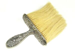 Antique Victorian Sterling Silver Repousse Floral Vanity Hair Clothing Brush