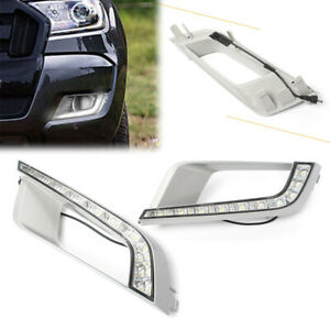 Pair Car Auto Led Drl Daytime Running Lights Fog Lamp For Ford Ranger 2015 2016