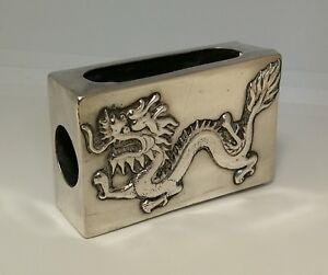 Vtg C1900 Chinese Export Solid Silver Repousse Dragon Matchbox Vesta Holder