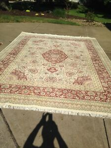 Large Antique Rug Carpet Persian Hand Knotted 13 Ft 9 In X 9 Ft 10 In