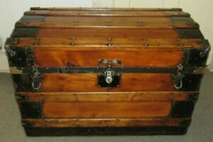 Antique Steamer Trunk Vintage Victorian Flat Top Wooden Chest Tray