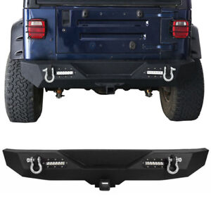 Rear Bumper W 2 Hitch Receiver D rings For 1987 2006 Jeep Wrangler Yj Tj