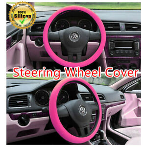 14 16 Soft Silicone Car Steering Wheel Cover Anti Static Non Slip Pink Usa