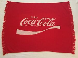 Vtg Logo Knits Coke Coca Cola Blanket Throw Acrylic Man Cave Red Sweater Woven