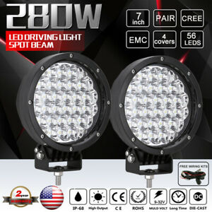 7inch Pair 280w Cree Led Driving Lights Spotlights Work Round Black Offroad Suv