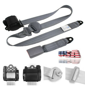 3 Point Retractable Car Seat Belt Lap Shoulder Harness W Quick Release Camlock